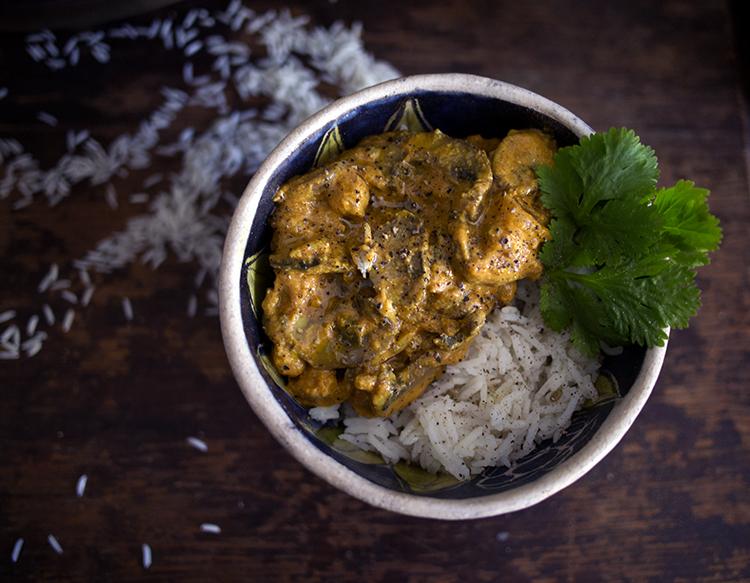 Champignons et pois chiches masala + basmati anisé