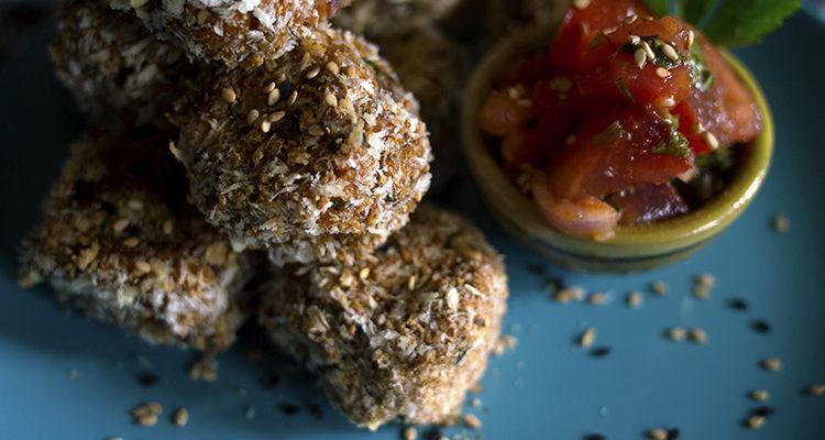 Bouchées de patates douces farcies aux olives + salsa